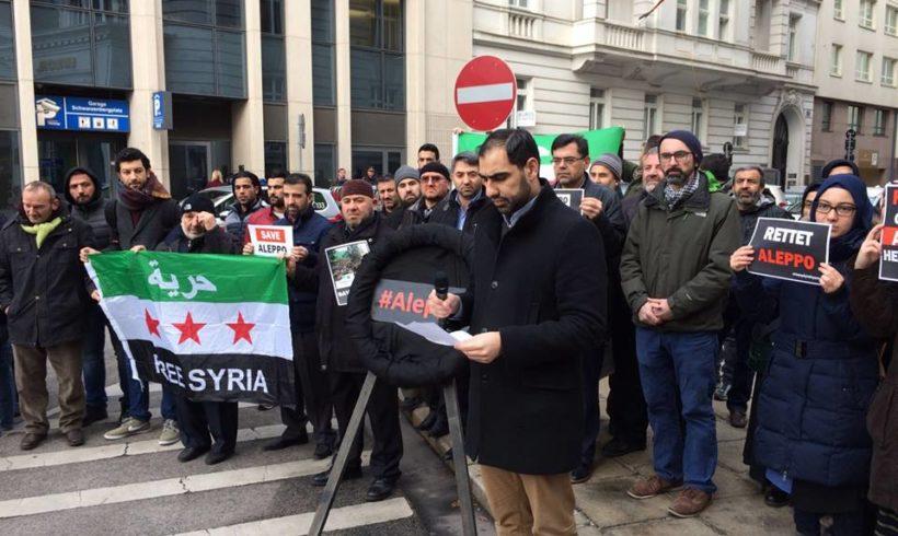 Pressemitteilung vor der Botschaft der Arabischen Republik